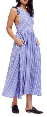 Free People Chambray Butterfly Cotton Midi Dress