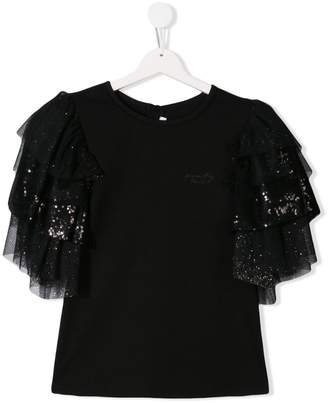 Givenchy Kids TEEN sequin tulle sleeve top