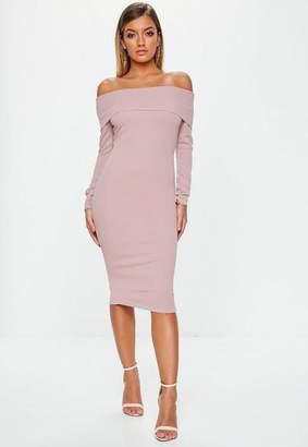 Missguided Mauve Bardot Long Sleeve Midi Dress