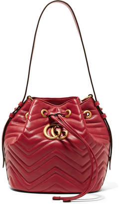 Gucci Gg Marmont Quilted Leather Bucket Bag - Red