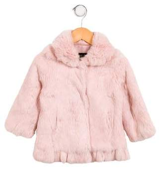 Adrienne Landau Girls' Fur Collared Jacket