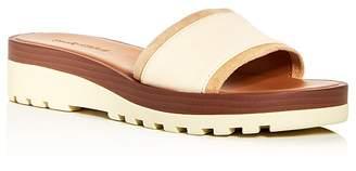 See by Chloe Women's Leather Wedge Platform Slide Sandals