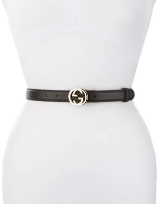 Gucci Skinny Leather Logo-Clasp Belt $330 thestylecure.com