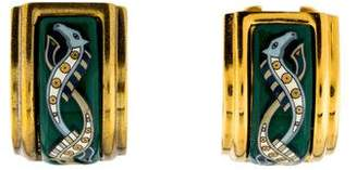 Hermes Vintage Enamel Clip-On Earrings