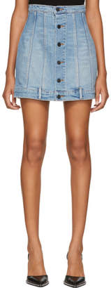 Alexander Wang Blue Seamed Denim Miniskirt