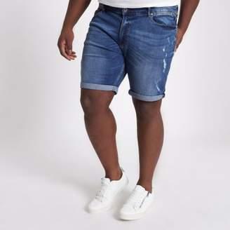 River Island Mens Big and Tall blue rip slim fit denim shorts