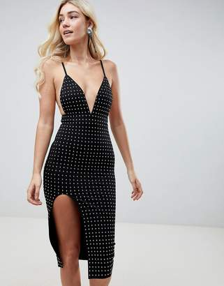 Club L Deep V Midi Dress With Side Split & All Over Rhinestone Embellishment