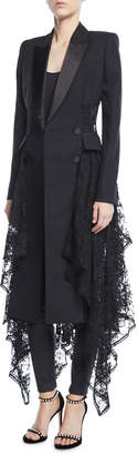 Alexander McQueen Long Double-Breasted Draped-Lace Coat