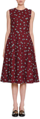 Marni Sleeveless Crewneck Floral-Print Cotton Woven Mid-Length Dress