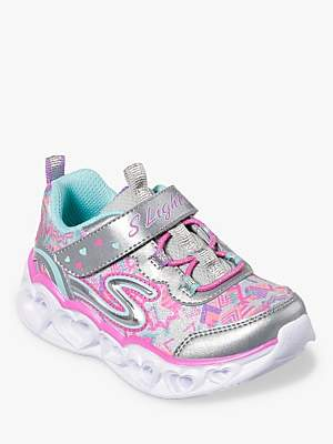 Skechers Children's Heart-Lights Trainers, Silver/Multi