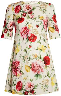 Dolce & Gabbana Round-neck floral-print stretch-silk dress