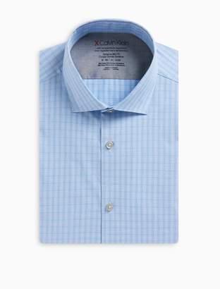 Calvin Klein Extra Slim Fit Purple Mini CheckTemperature Regulation Dress Shirt