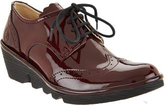 Fly London Leather Wedge Lace-up Shoes - Palt