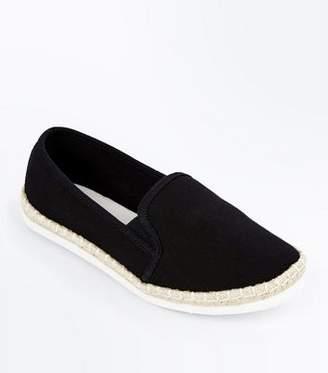 New Look Black Canvas Slip On Espadrilles