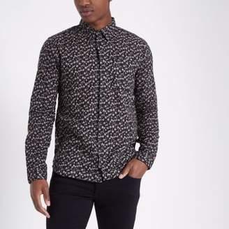 Bellfield Mens black palm print long sleeve shirt