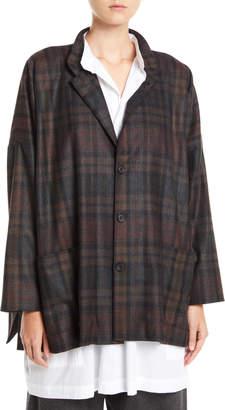 eskandar Wide Mandarin-Collar Plaid Wool-Angora Jacket