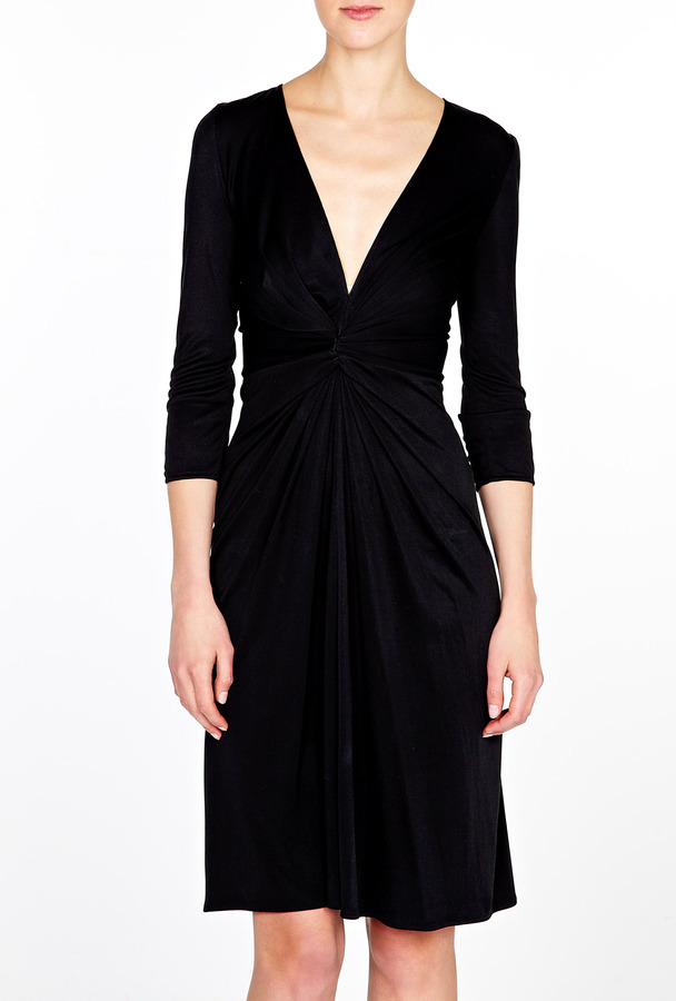 Issa Black Gather Waist Silk Jersey Dress