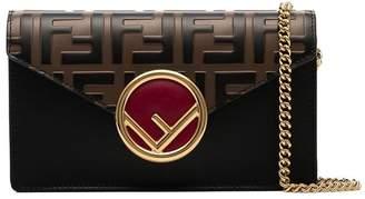 Fendi black, brown and red FF logo leather belt bag