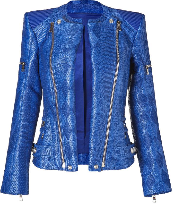 Balmain Gipsy Blue Woven Biker Jacket