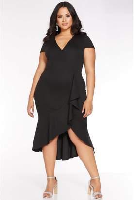 Quiz Curve Black Cap Sleeve Frill Midi Dress