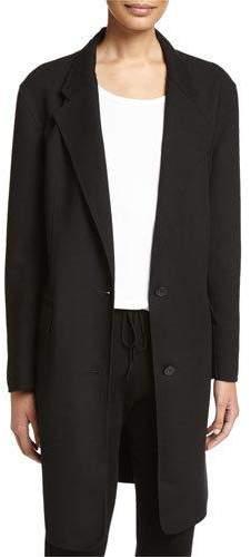 DKNYDKNY Long Tailored Wool-Blend Coat, Black