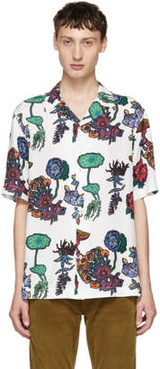 Paul Smith White Floral Camp Collar Shirt
