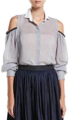 Brunello Cucinelli Cold-Shoulder Button-Front Sheer Striped Blouse