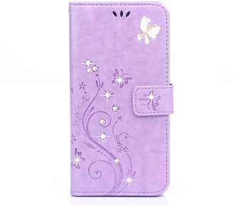Nobrand No Brand Galaxy s7 Wallet Case, 5.1inch Samsung Galaxy S7 Case, Flower Butterfly Pattern Premium PU Leather Wallet Case with Wrist Strap Flip Case Cover