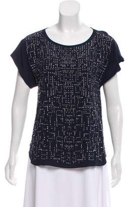 Rebecca Taylor Embellished Silk-Accented Top