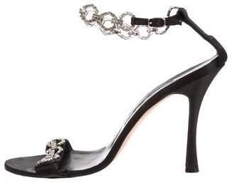 Manolo Blahnik Satin Embellished Sandals