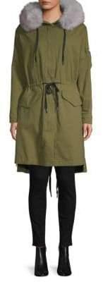 Soia & Kyo Fox Fur-Trimmed Denim Coat