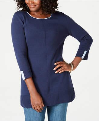 Karen Scott Cotton Colorblocked 3/4-Sleeve Sweater