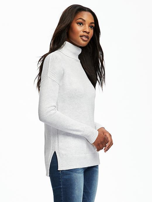 Relaxed Hi-Lo Turtleneck Pullover for Women