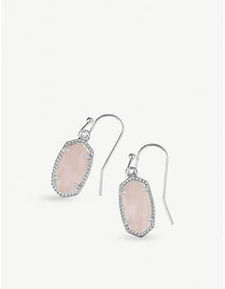 Kendra Scott Lee rhodium-plated rose quartz drop earrings