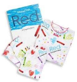 story. Books To Bed Toddler's& Little Girl's Three-Piece Red Crayon Book& Cotton Hanging Pajama Top& amp