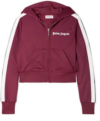 Palm Angels Cropped Striped Satin-jersey Hoodie - Burgundy