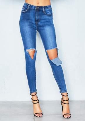 75d453eec8c Missy Empire Lina Denim Open Knee Rip Skinny Jeans