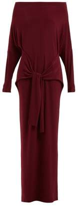 Norma Kamali Long Sleeved Tie Waist Dress - Womens - Burgundy