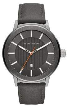 Armani Exchange Maddox Stainless Steel and Leather-Strap Watch