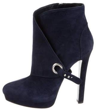 Alexander McQueen Suede Round-Toe Ankle Boots w/ Tags