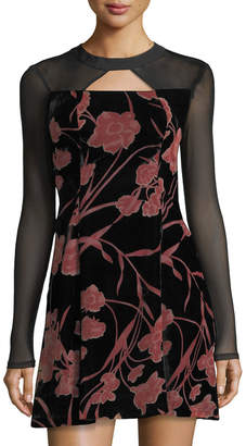 BCBGeneration Floral-Print Velvet Fit-&-Flare Dress