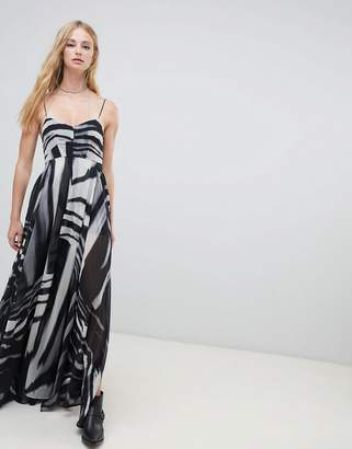 Religion cami maxi dress in zebra print