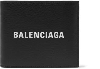 Balenciaga Logo-Print Textured-Leather Billfold Wallet - Black
