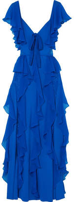 Elie Saab Ruffled Georgette And Lace Gown - Blue