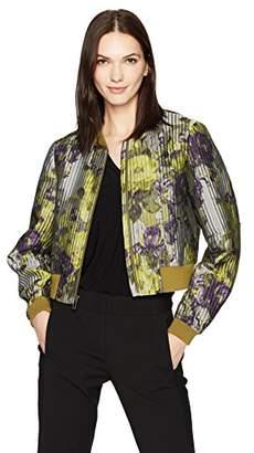 BCBGMAXAZRIA Women's Colin Woven Floral Bomber Jacket