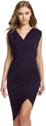 ANGVNS Women V Neck Faux Wrap Ruched Day Night Dress for Juniors(,M)