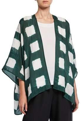 eskandar Short-Sleeve Tie-Dye Silk Kimono Jacket