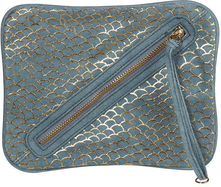 Blue Suede Fishscale Clutch