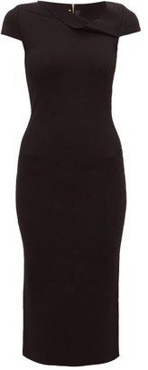Roland Mouret Keel Asymmetric Neck Knitted Pencil Dress - Womens - Black