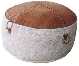 """ACME Furniture ACME Shera 20""""W Bean Bag Pouf in Brown Leather and Wool"""